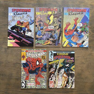 Set 5x Nederlandstalige Spider-Man Juniorpress Conditie: Tweedehands, redelijk Juniorpress 5