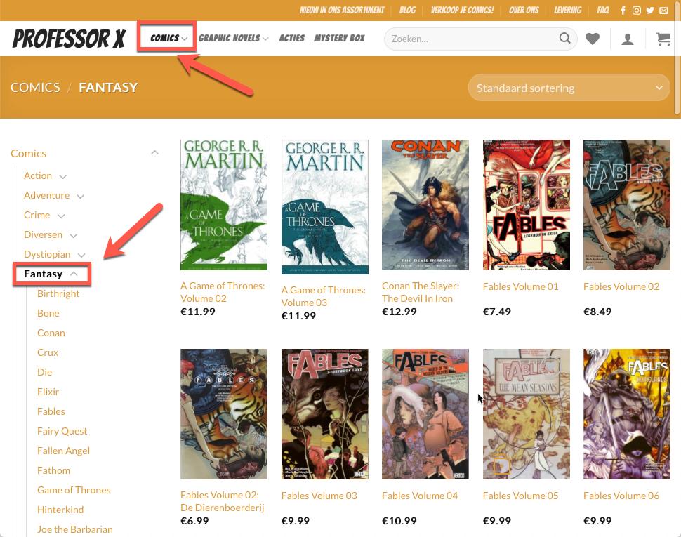 Hoe vind ik mijn comics en graphic novels op ProfessorX.nl? 3